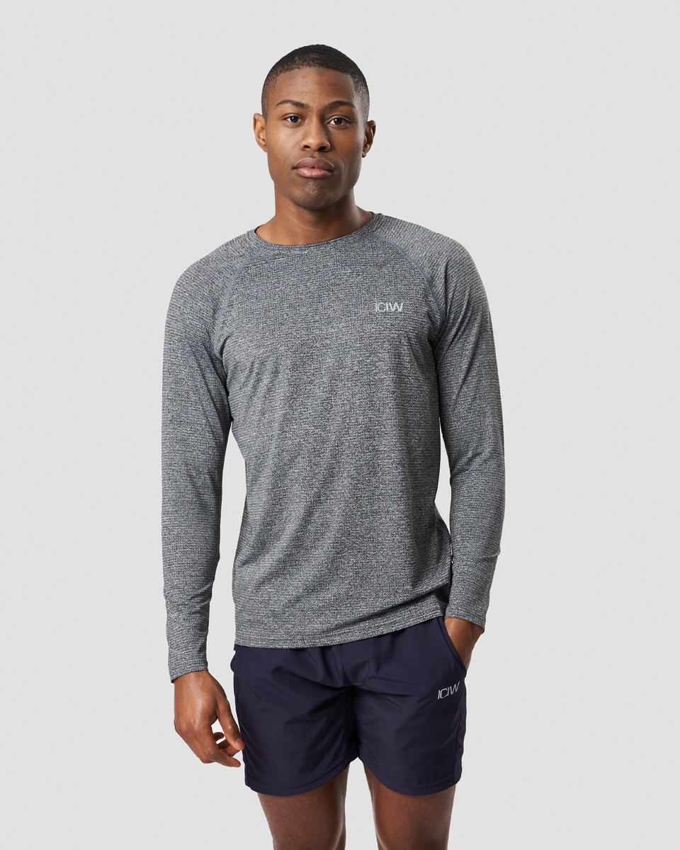 Training Mesh Long Sleeve Grey Melange Men